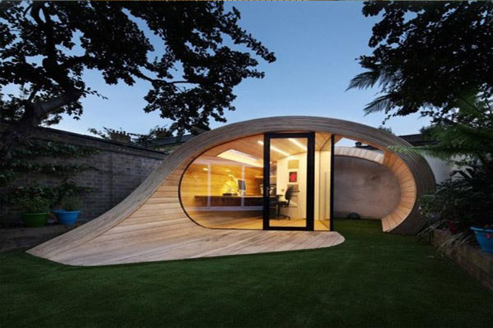 Compact Curled Wood House