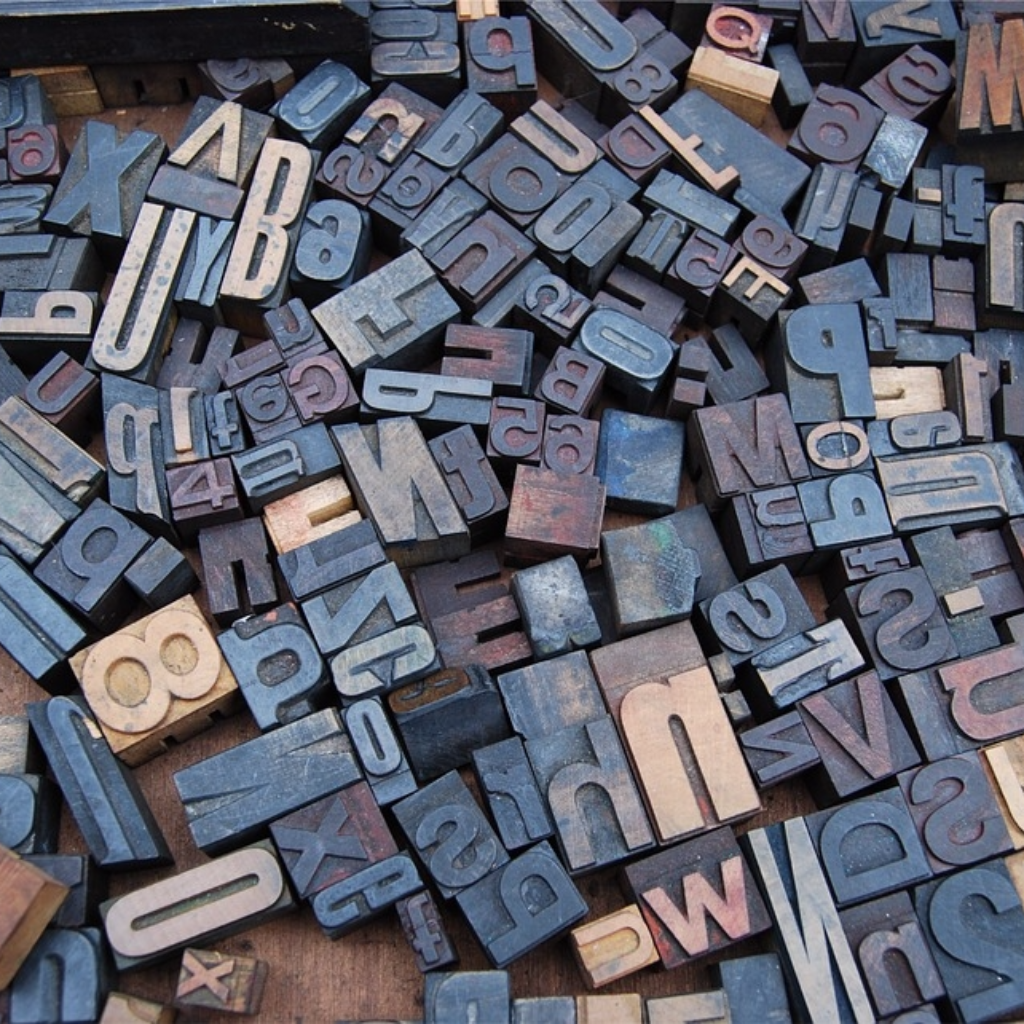 Wooden blocks of the English alphabet and numbers from a type foundry