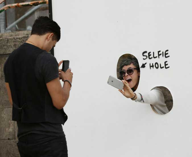 Selfie booth at Dismaland {Exhibition Design}