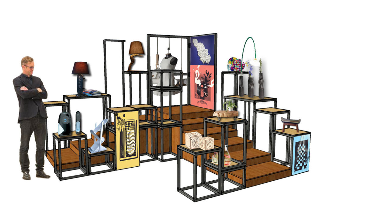 Interior designing course Student designs a display system to learn about temporary structures