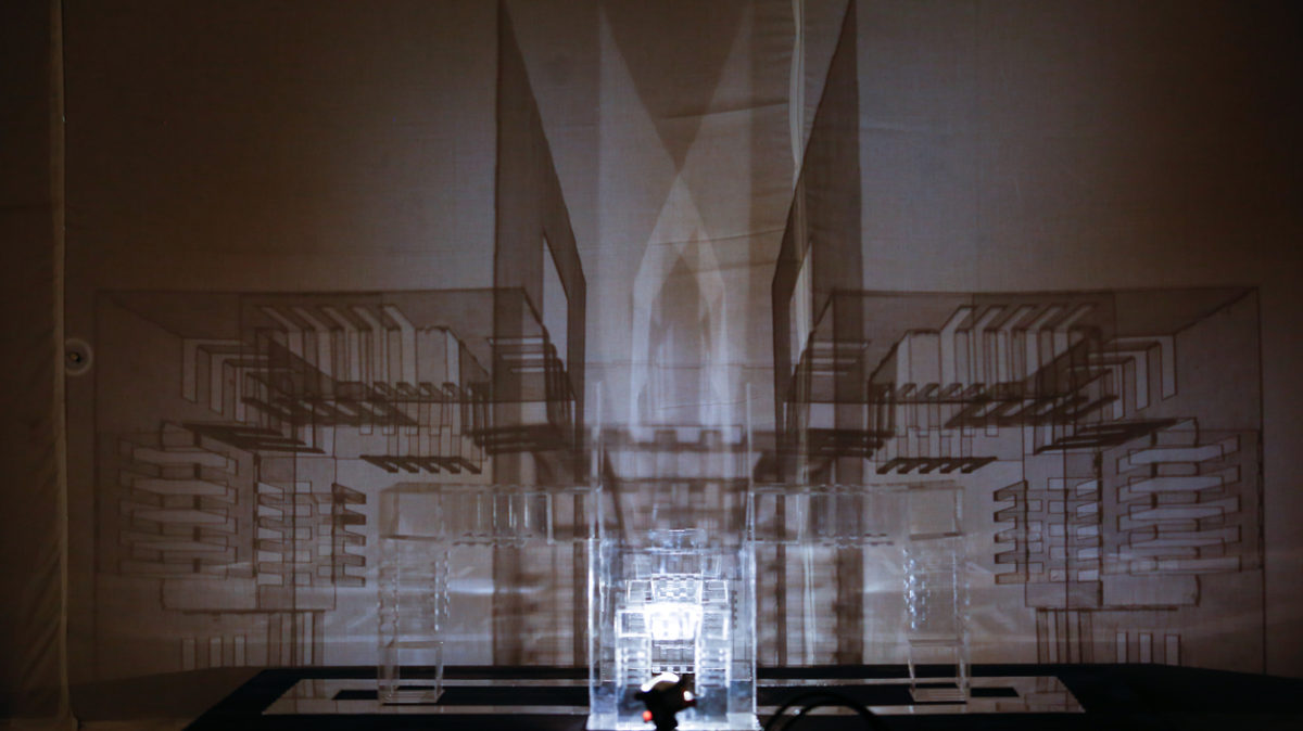 Light and shadow on an architectural structure using acrylic pieces