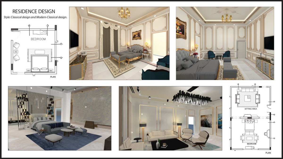 IIAD interior architecture course student designed a luxurious residence
